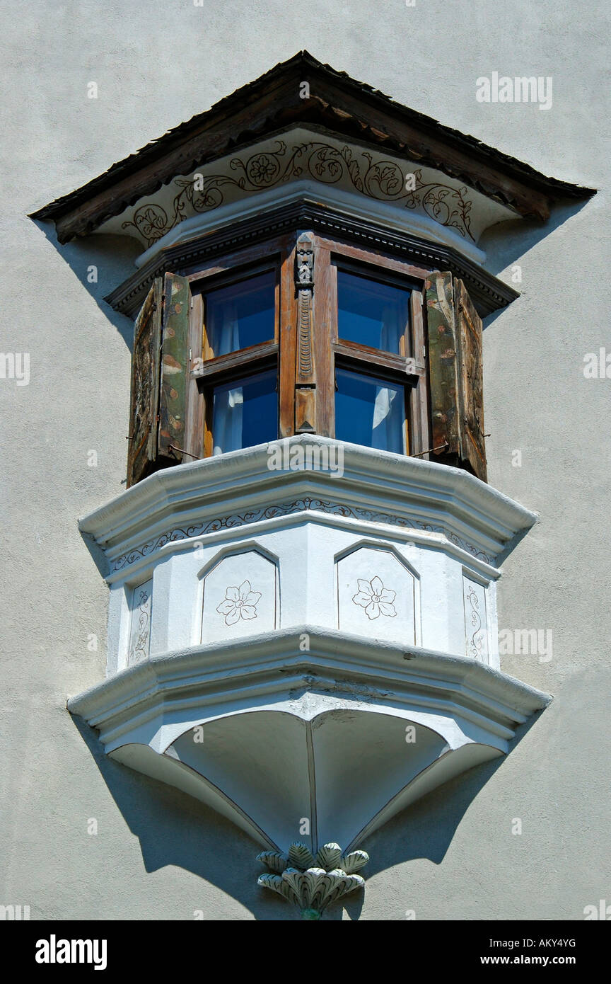 Bay window of traditional Engadine house, S-chanf, Grisons, Engadin, Switzerland Stock Photo