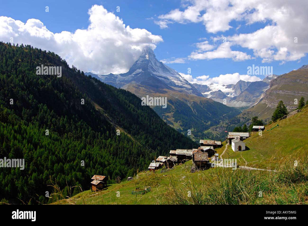 Hamlet Findeln, Mount Cervin, Matterhorn, Zermatt, Valais, Switzerland - Stock Image