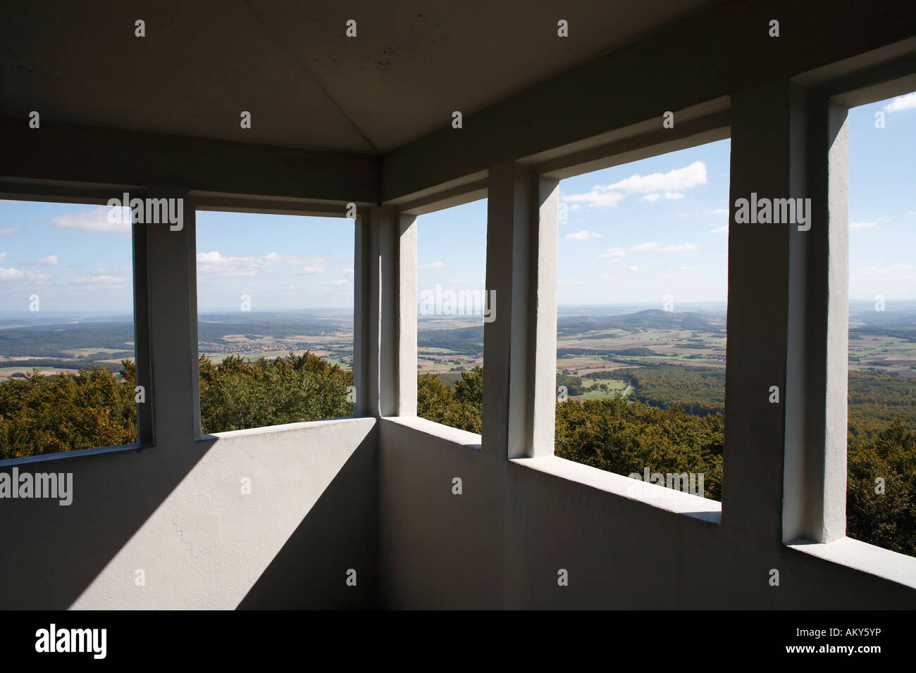 Look-out Rother Kuppe, Rhoen-Park-Hotel, Rhoen, Franconia, Germany - Stock Image