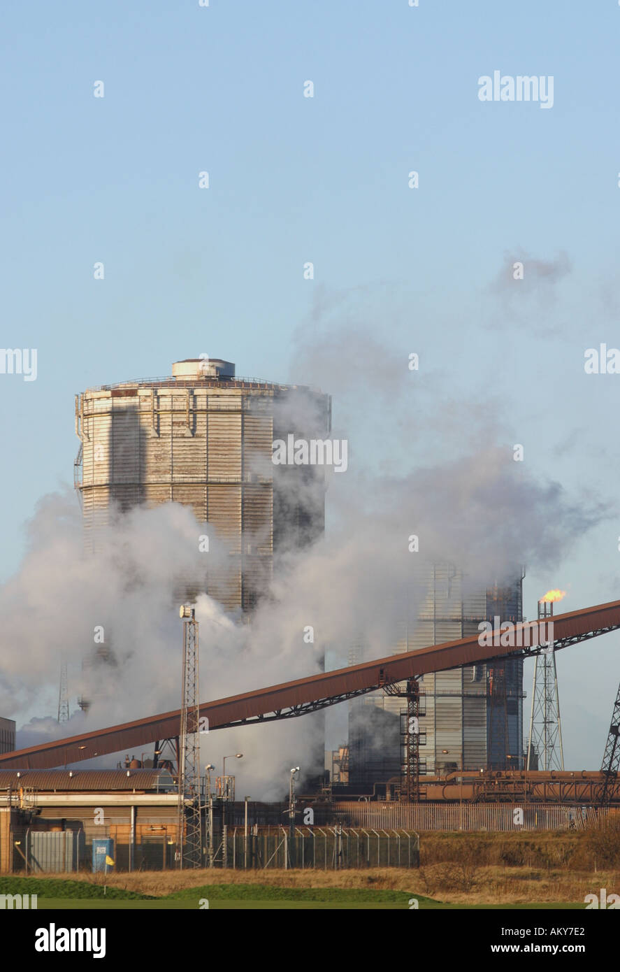 SSI blast furnace and steel factory at Redcar Teesside Cleveland England - Stock Image