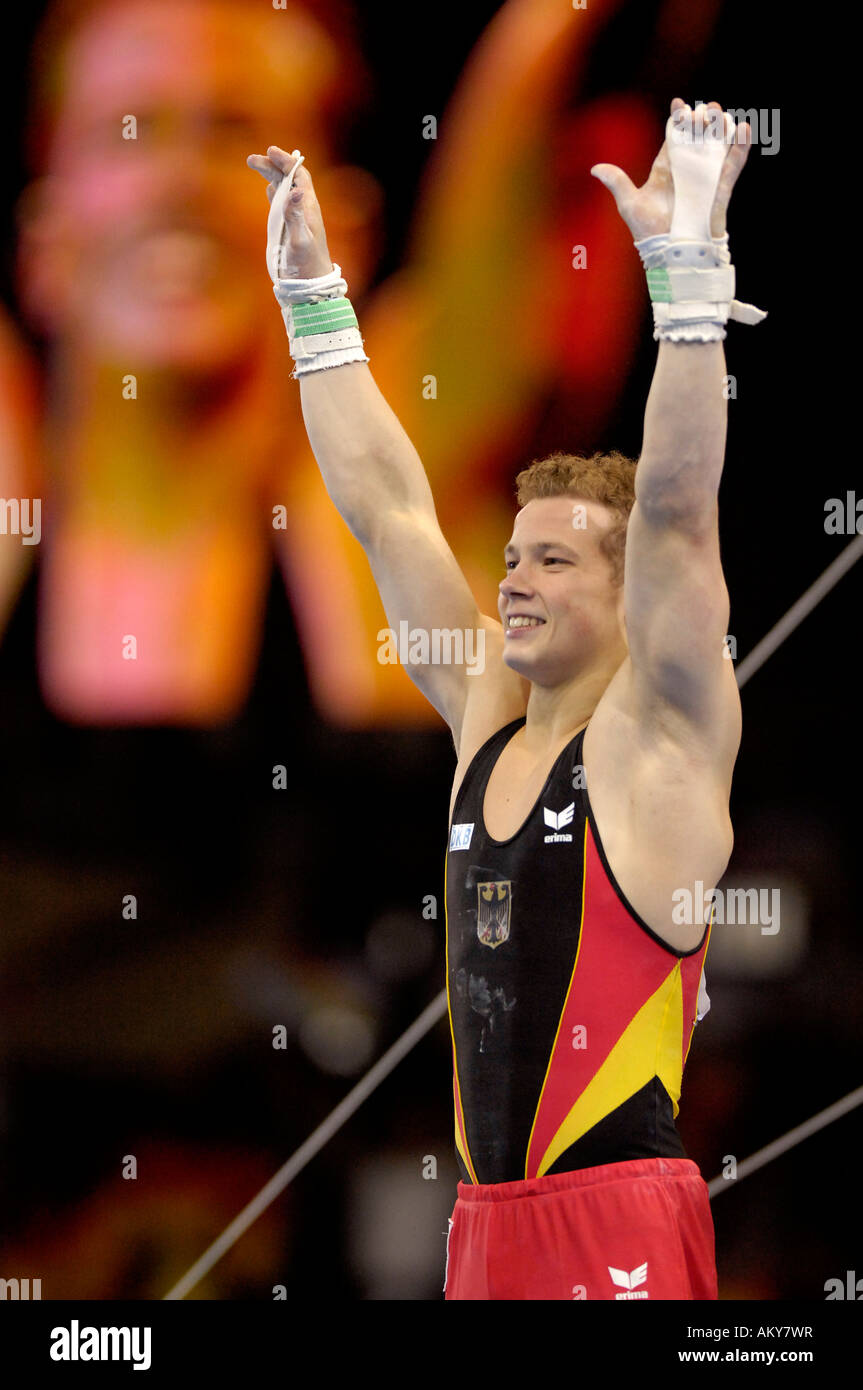 Artistic Gymnastics Fabian HAMBUeCHEN GER wins gold medal on high bar Artistic Gymnastics World Championships 2007 - Stock Image