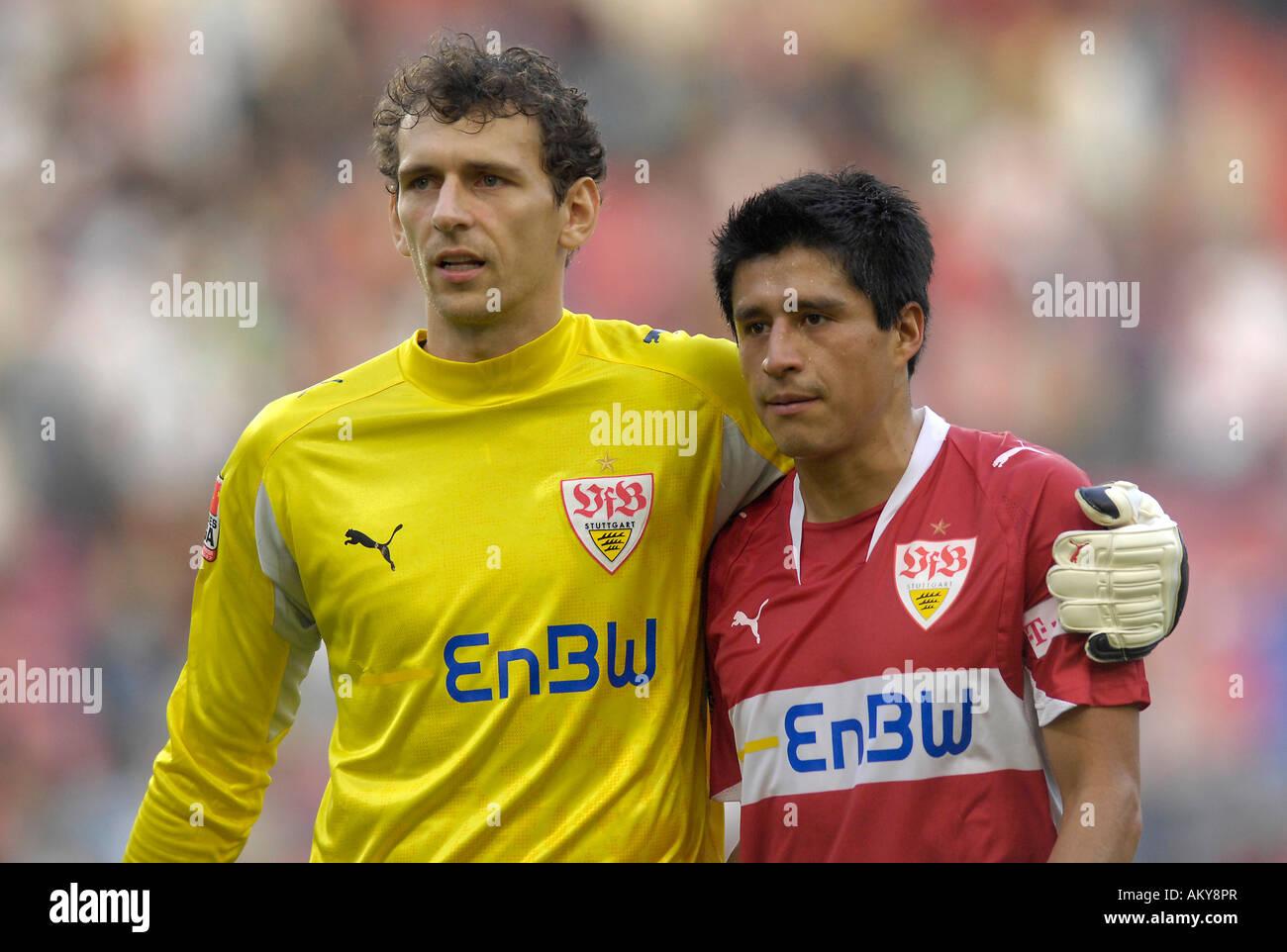 Goalkeeper Raphael SCHAeFER VfB Stuttgart hugging Ricardo OSORIO VfB Stuttgart - Stock Image