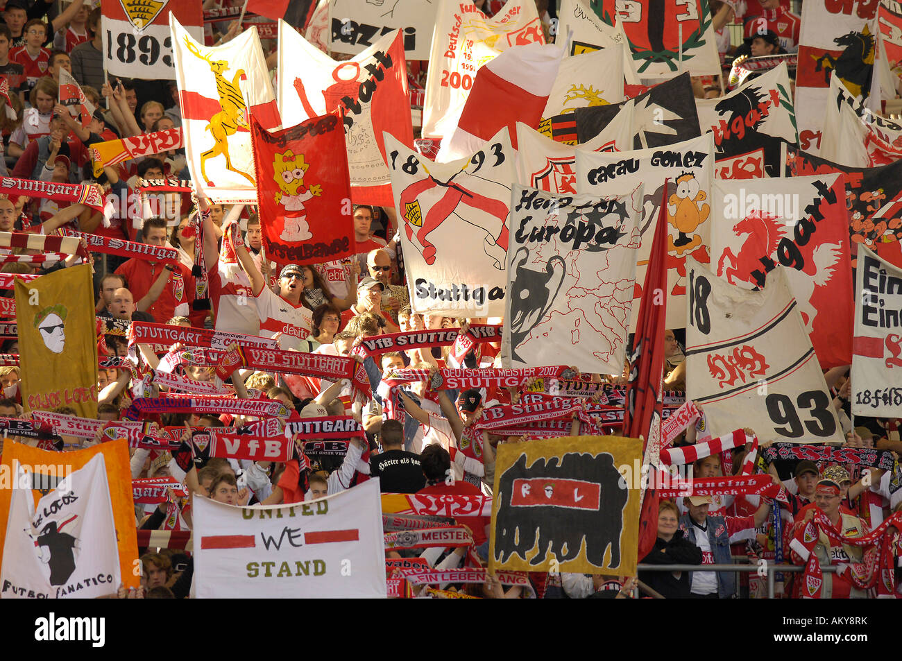 Sea of flags Gottlieb-Daimler-Stadion, Stuttgart, Baden-Wuerttemberg, Germany Stock Photo