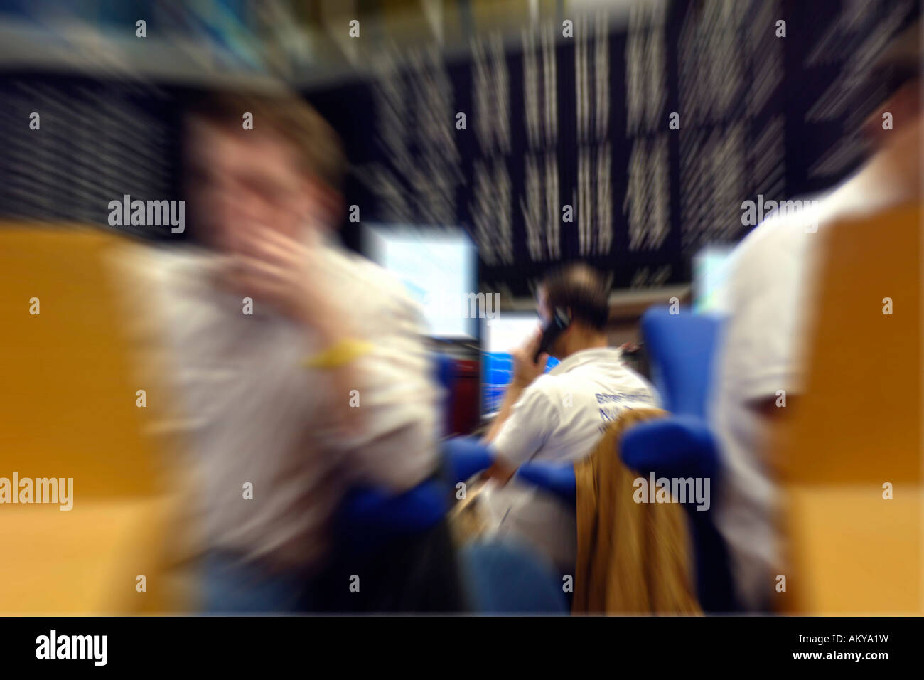 Broker at the stock exchange, Frankfurt, Germany Stock Photo