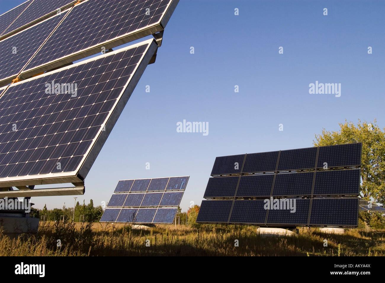 Solar modules on a testfield in Berlin, Germany - Stock Image