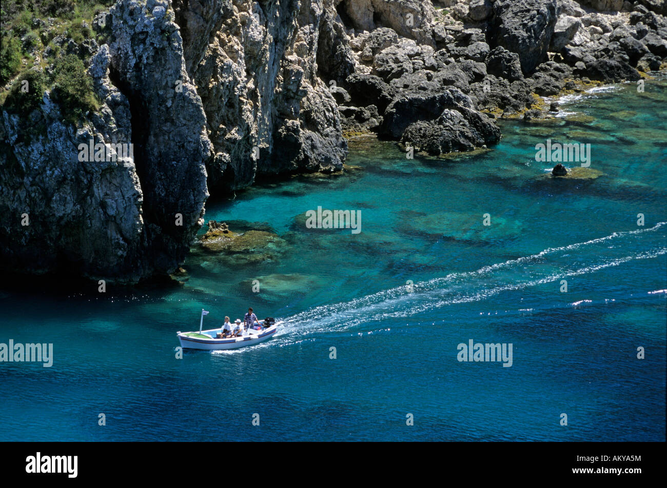 Powerboat with tourists at the coast of Corfu, Greece - Stock Image