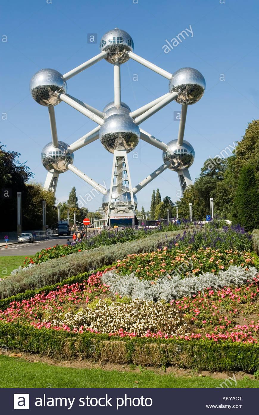 Atomium Brussels Belgium Worldfamous Monument of a iron atomic nucleus - Stock Image