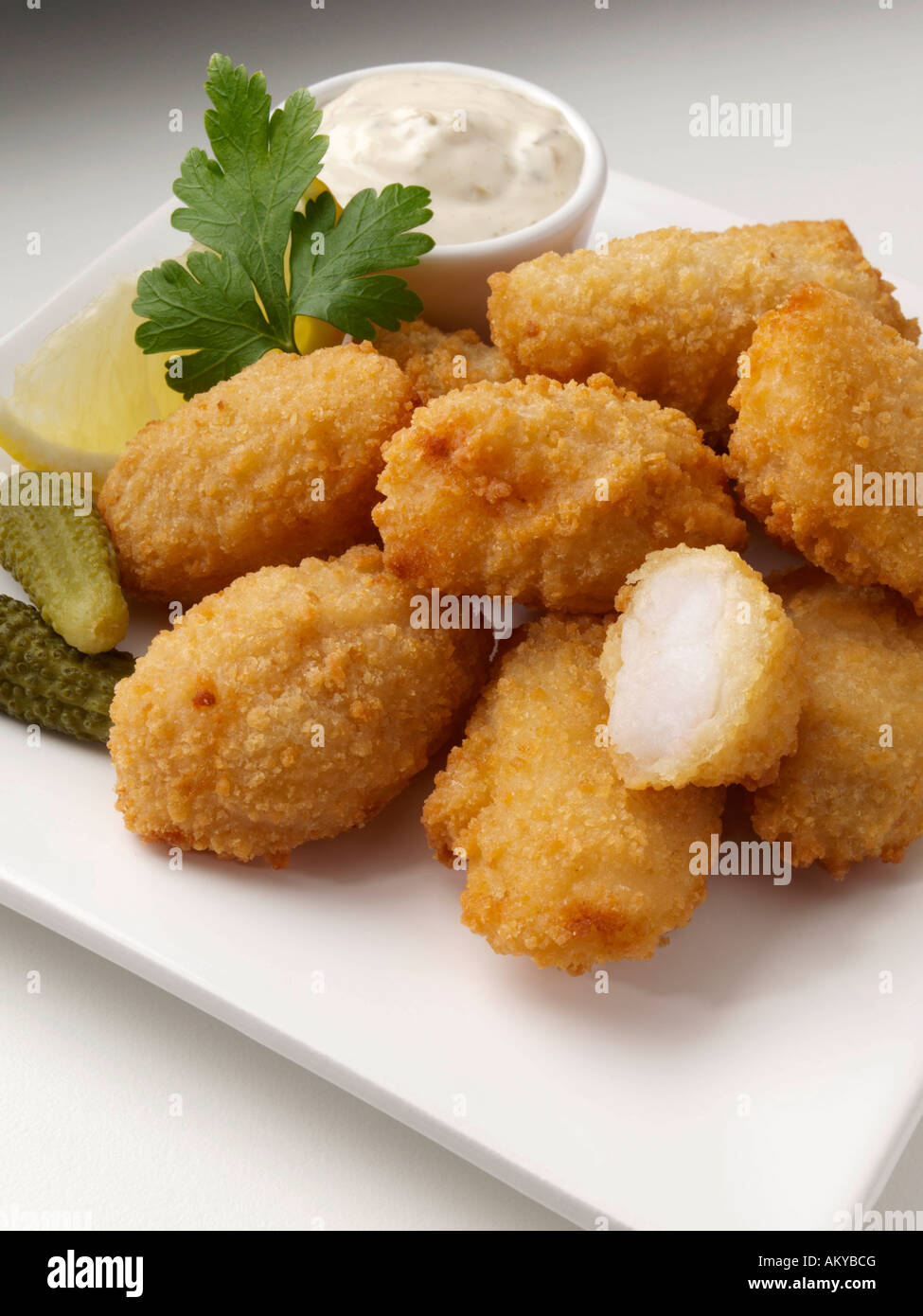 Scampi breaded seafoods horseradish editorial food Stock Photo