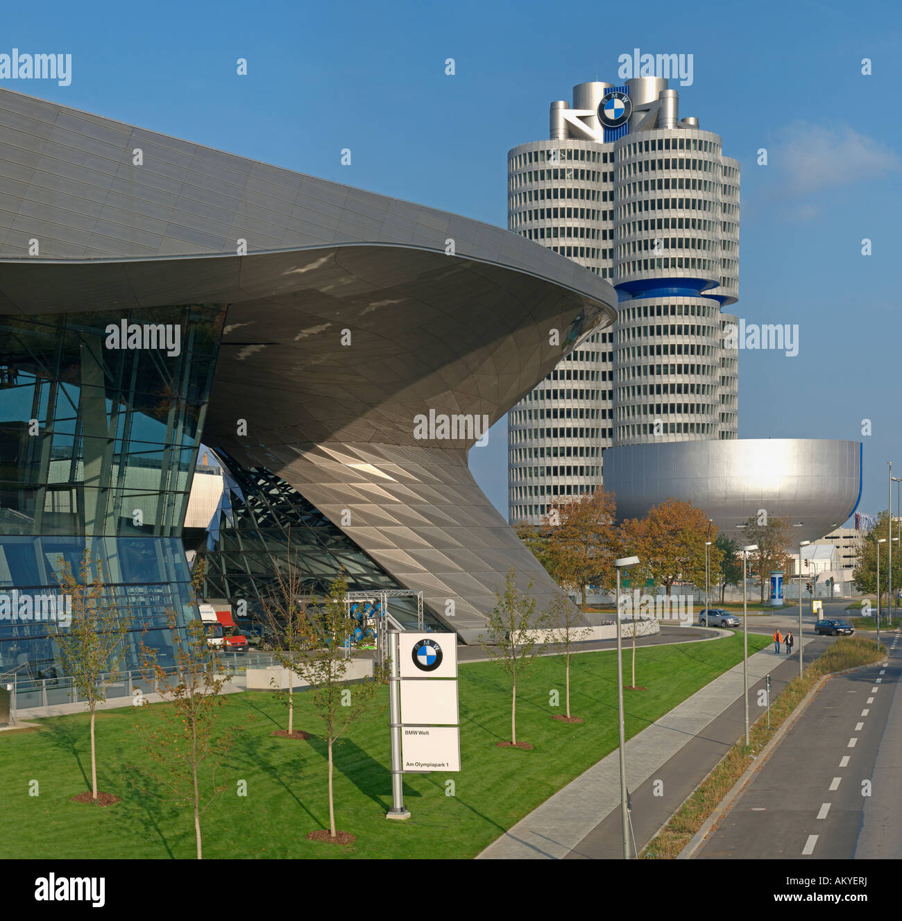 BMW World, event forum and distribution center for BMW cars, Munich, Bavaria, Germany - Stock Image