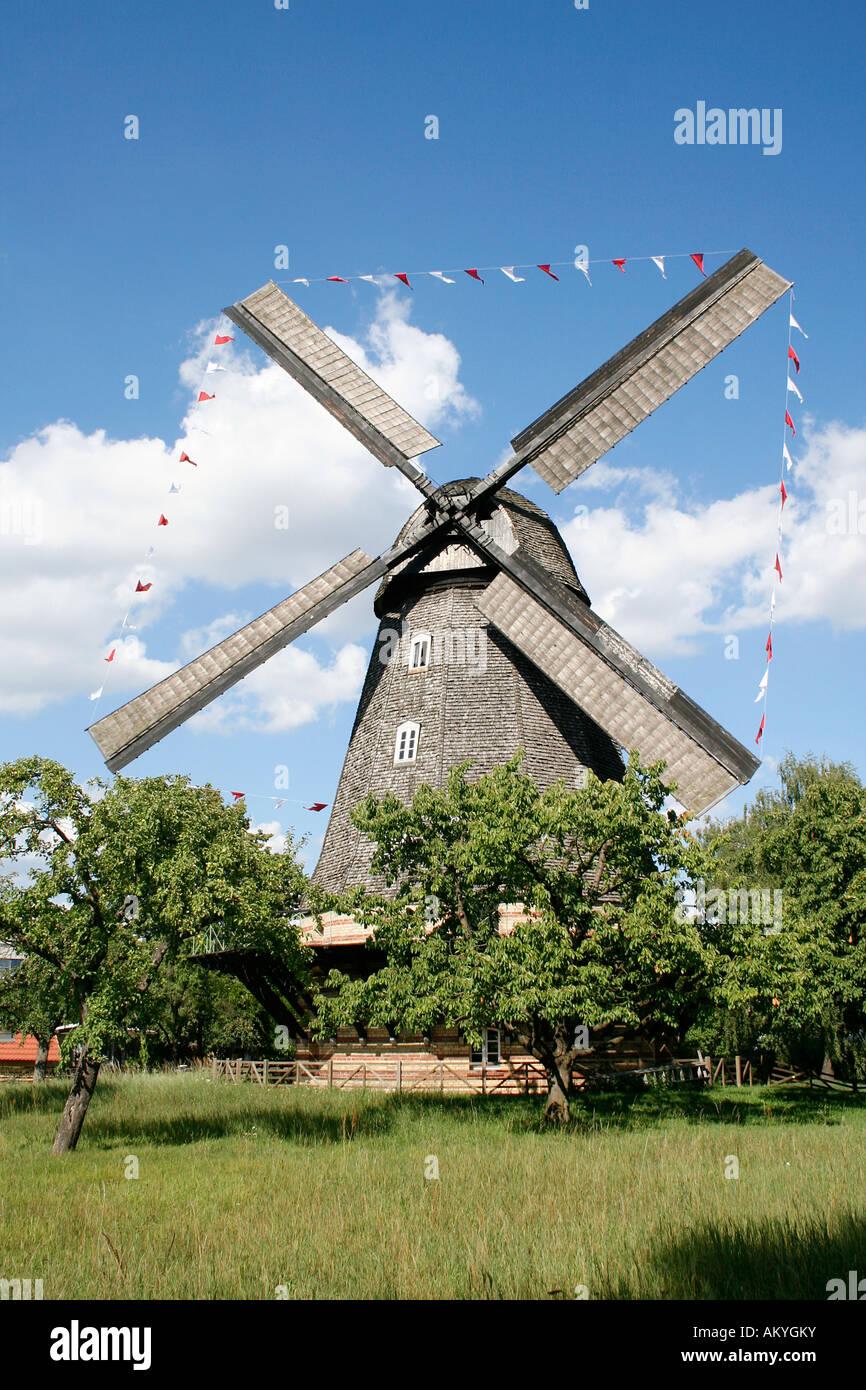 Britzer mill, Stechhansche wind mill, Britz, Berlin, Germany - Stock Image