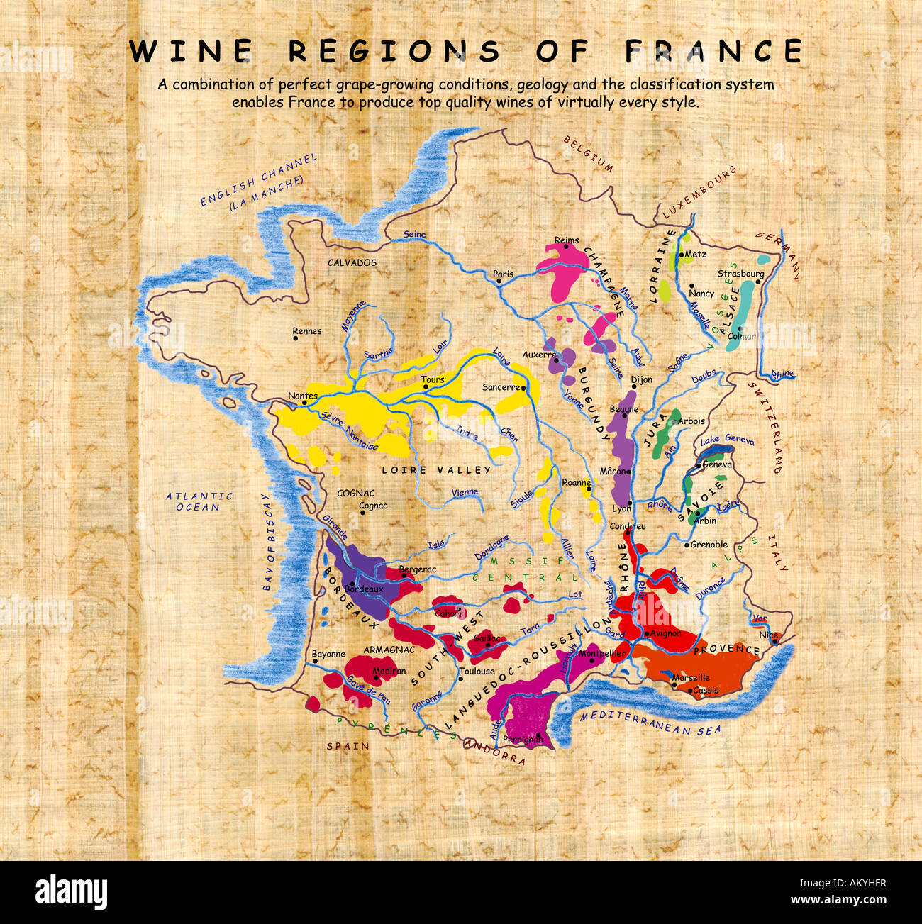 Regions In France Map.Map Of The Wine Regions Of France Stock Photo 15099466 Alamy