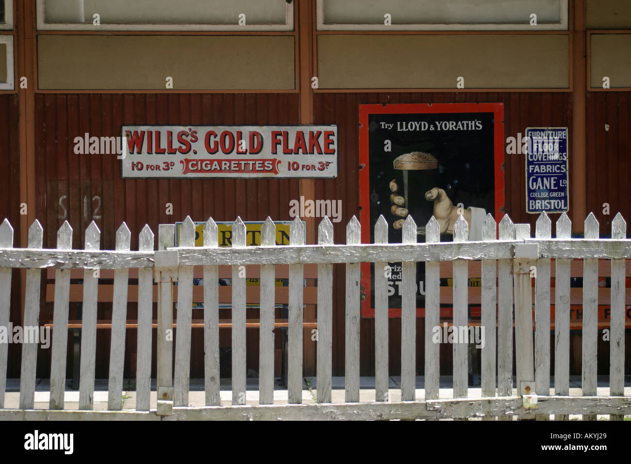 Adverts at Norchard Station near Lydney at the Forest of Dean  - Stock Image