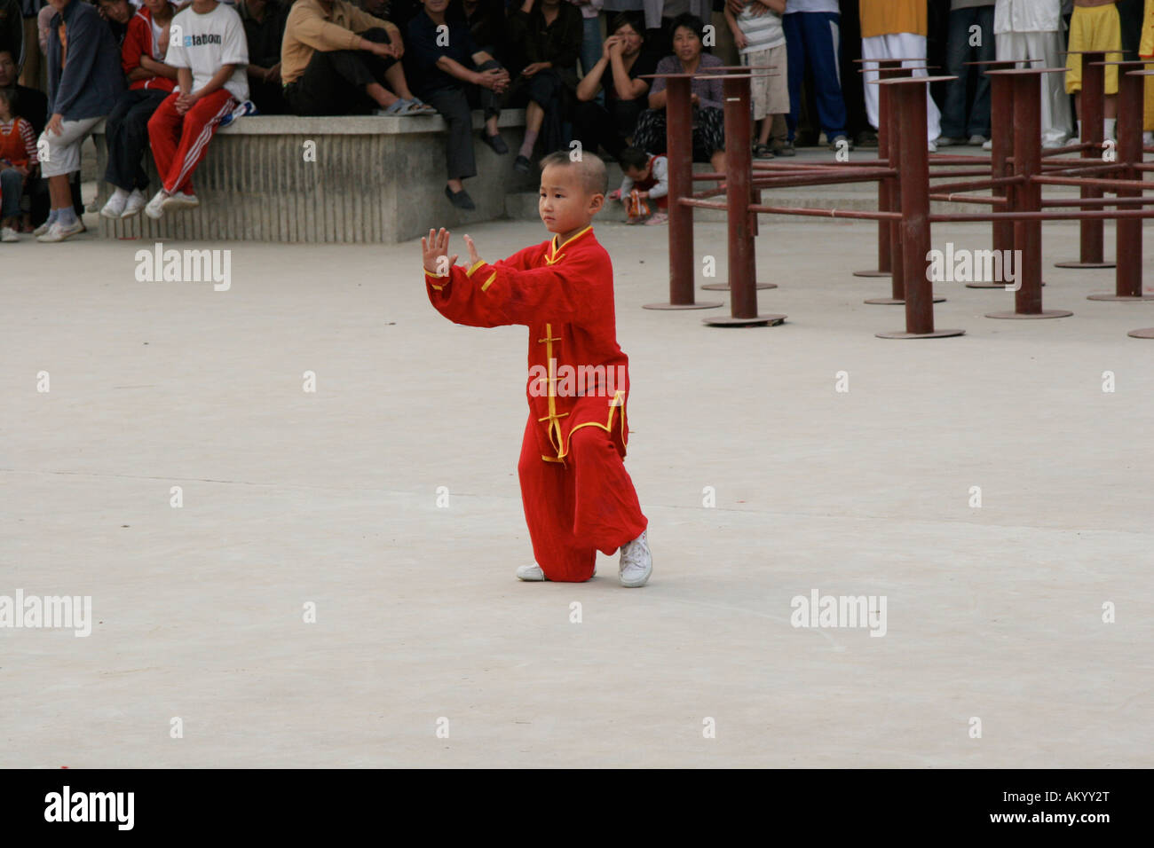 Taji show, children at a Kungfu presentation, Chenjiagou, Henan, China - Stock Image