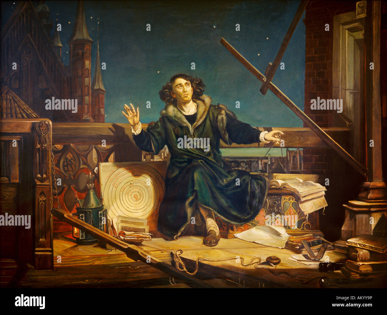 oil on canvas 1873 the famous astronomer nicolaus. Black Bedroom Furniture Sets. Home Design Ideas
