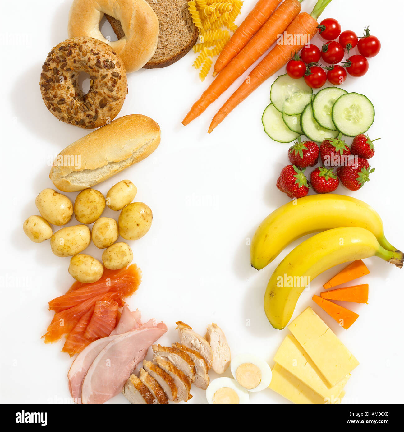 Healthy fruit and vegetables and meat on a white background proportions are for a balanced diet - Stock Image
