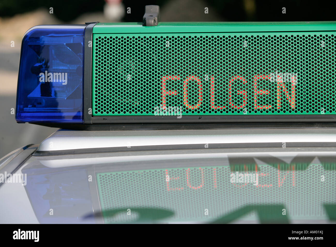 Stop-and-search operation with a german police car Stock Photo