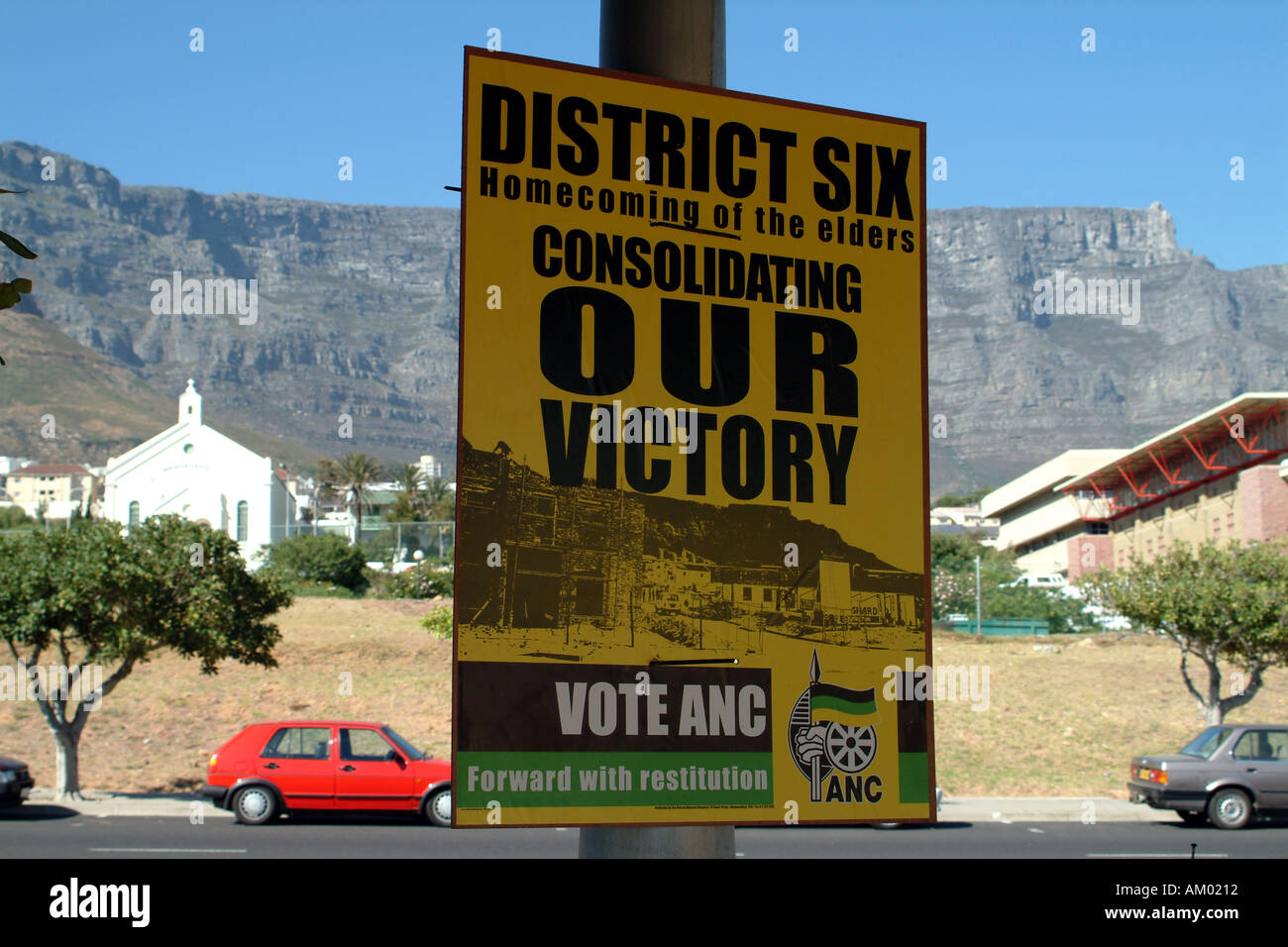 ANC Election Poster Table Mountain Cape Town South Africa RSA African National Congress Thabo Mbeki Party - Stock Image