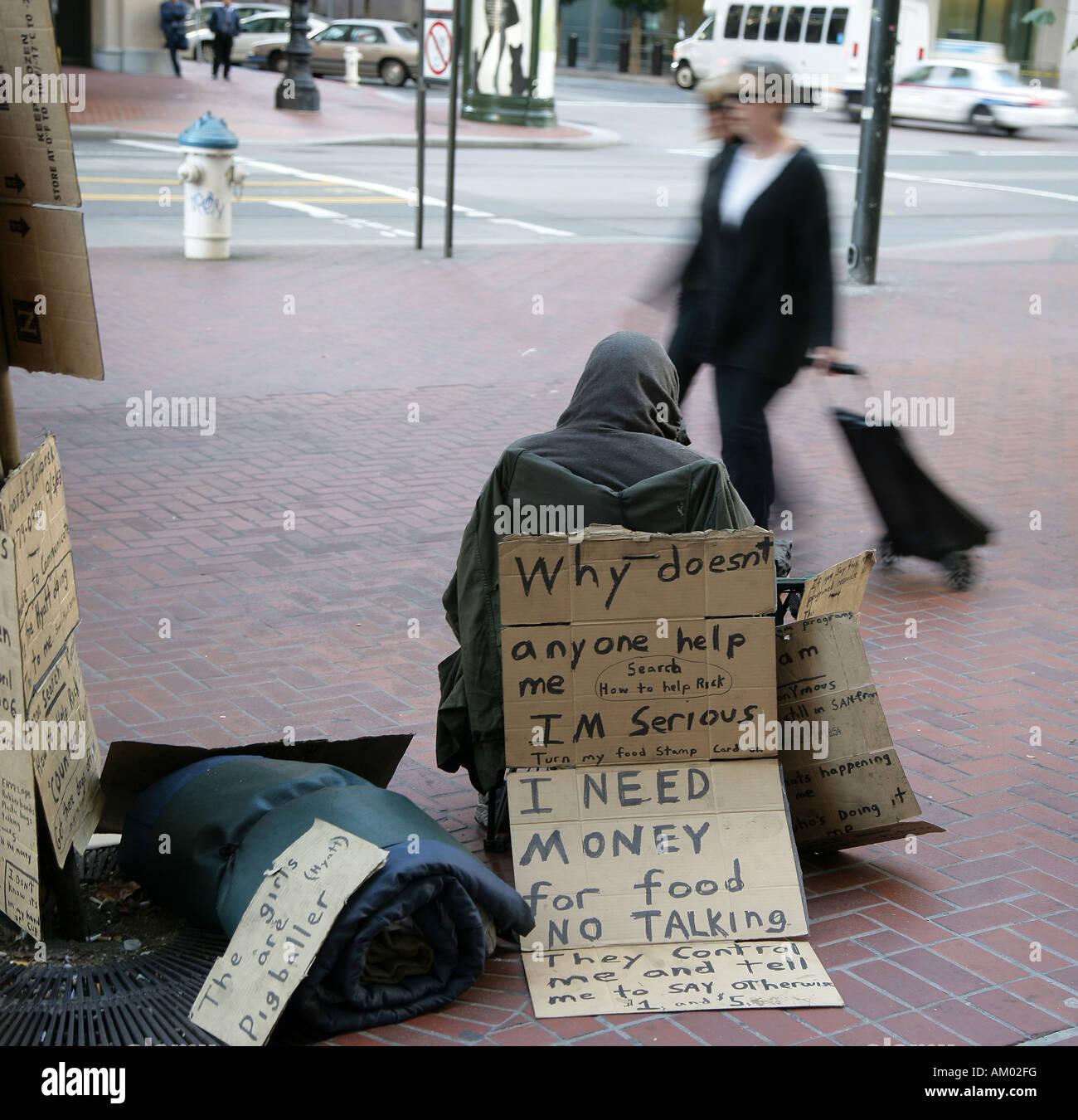 Beggar in the Financial District of San Francisco California, USA - Stock Image