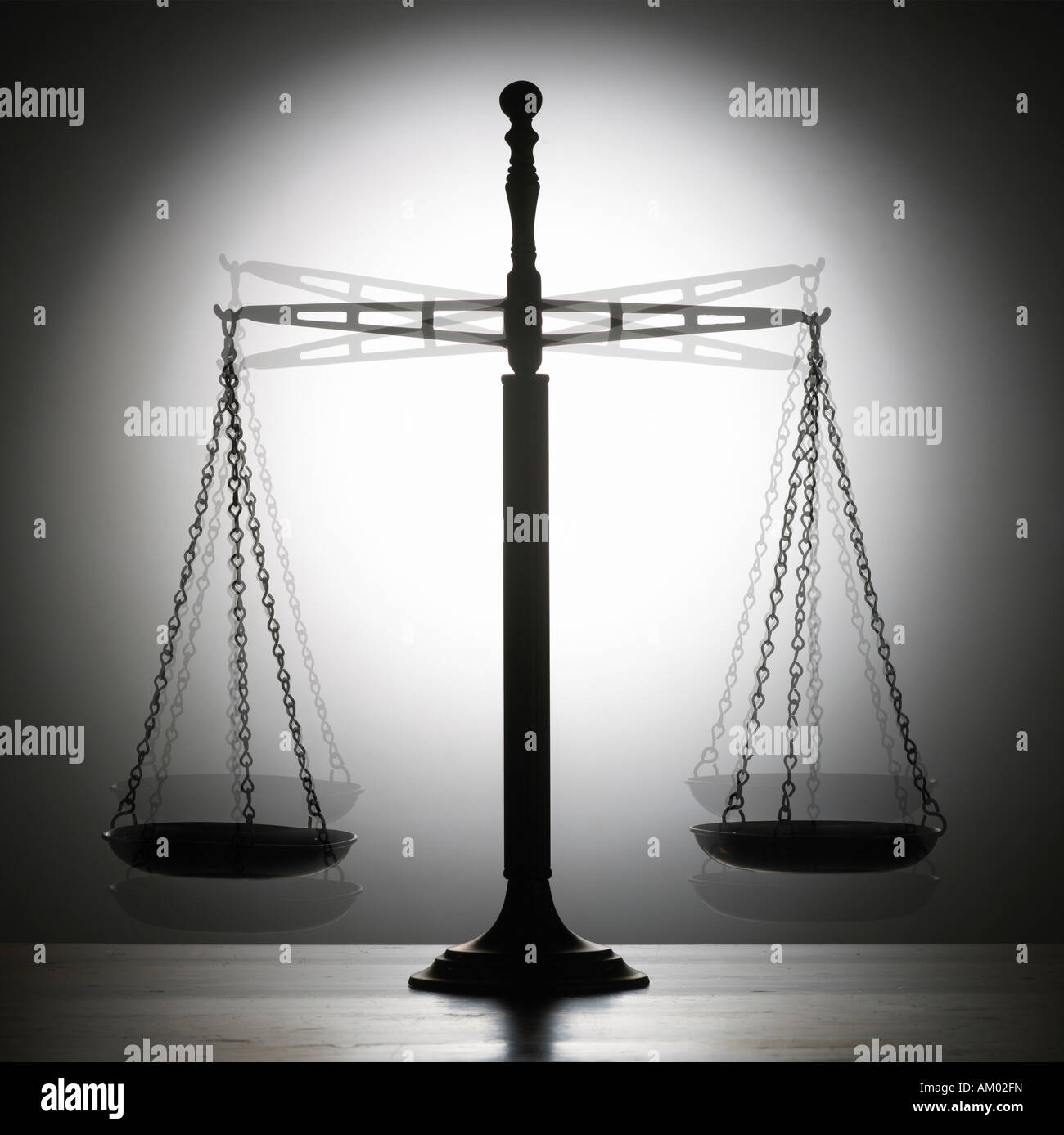 SILHOUETTE OF ANTIQUE BALANCE WEIGHING SCALES - Stock Image