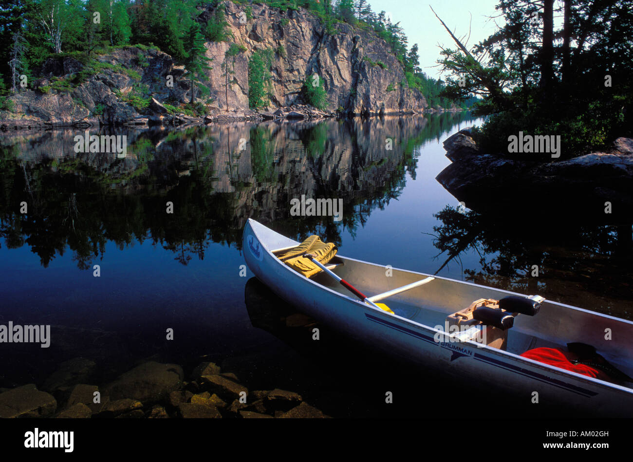 Canoe on Seagull Lake in the Boundary Waters Canoe Area Wilderness BWCAW Minnesota - Stock Image