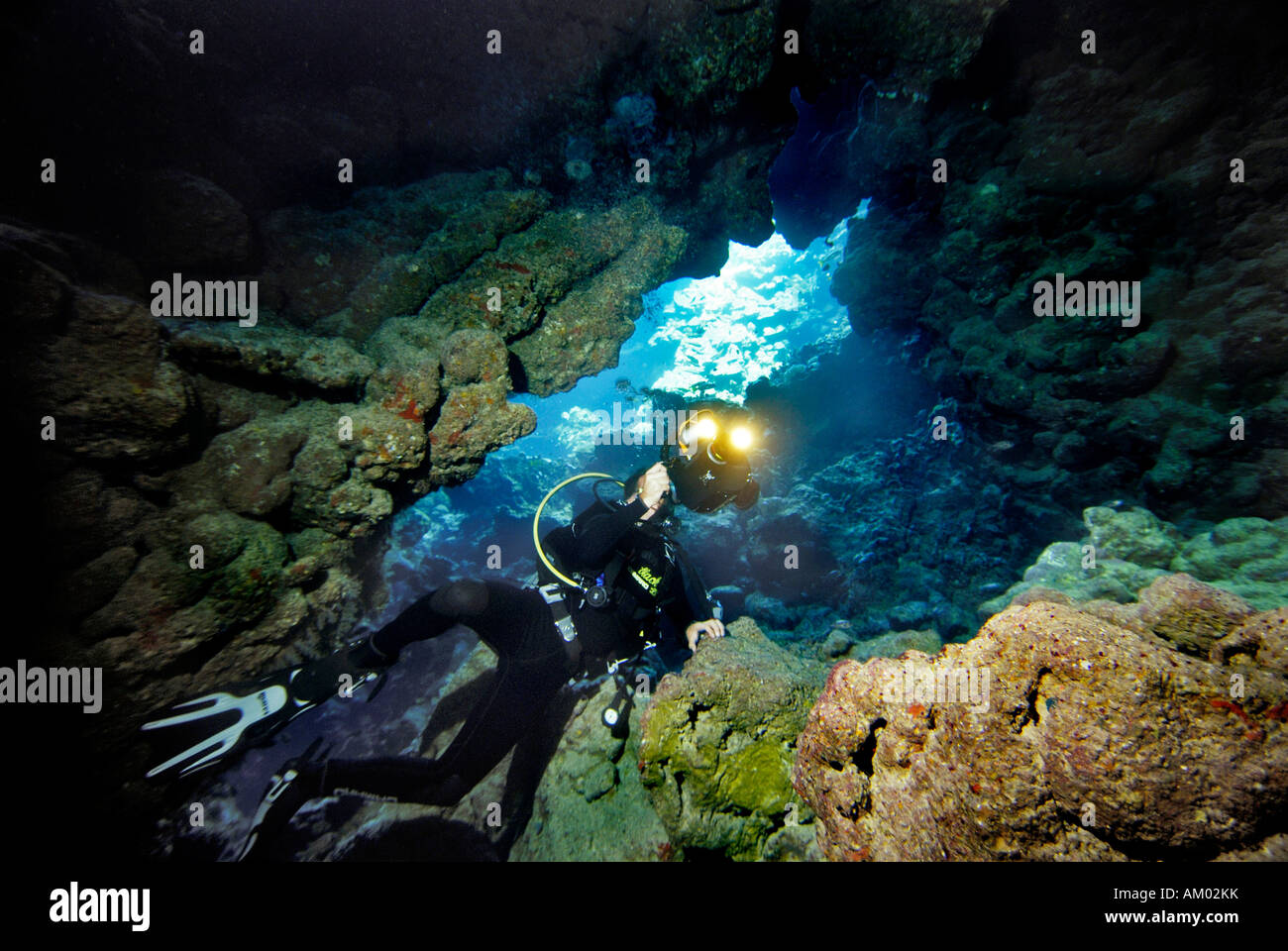 Diver films a cave underwater, Red Sea, Egypt - Stock Image