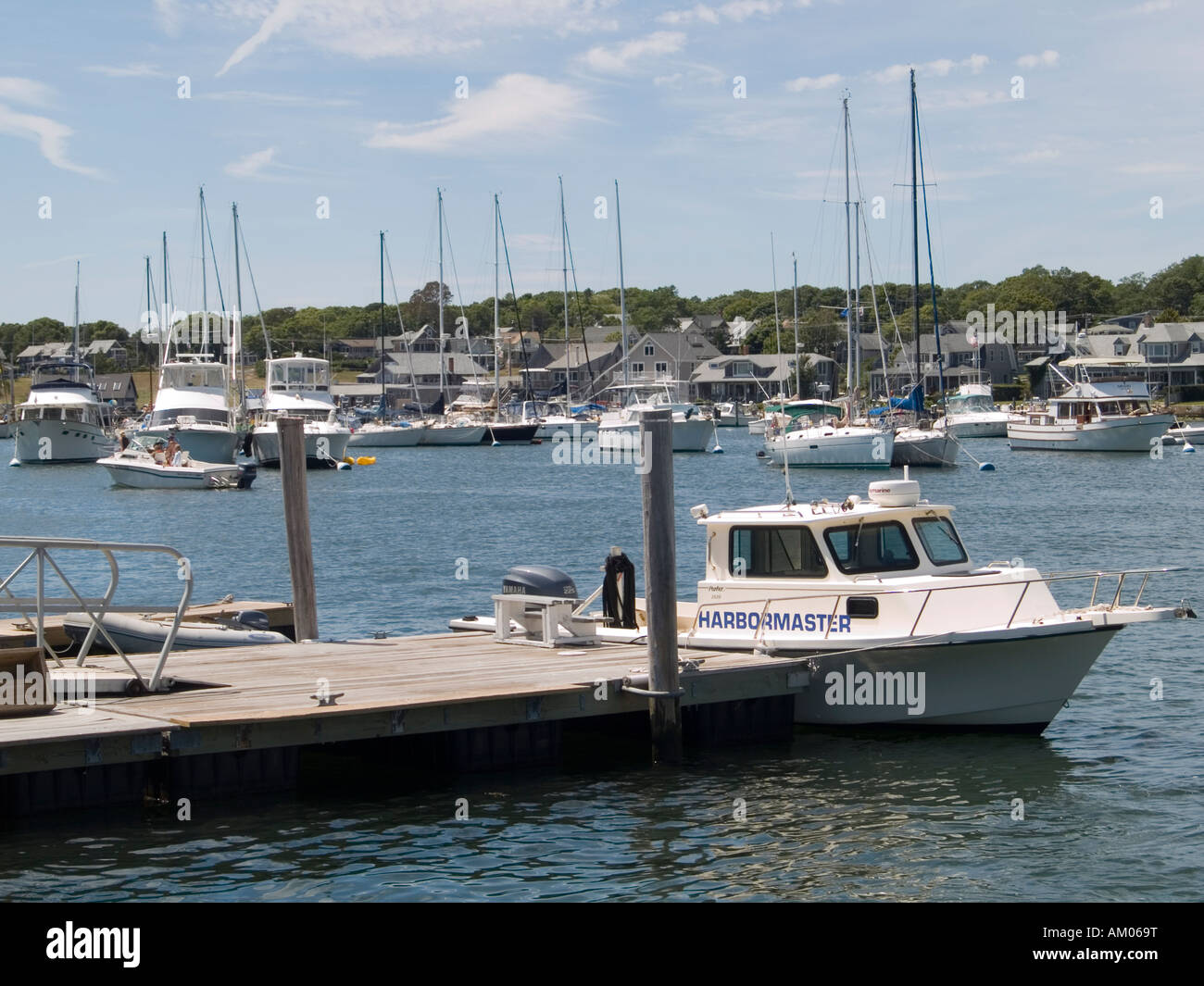 Boats in the harbour at Oak Bluffs, Martha's Vineyard USA - Stock Image