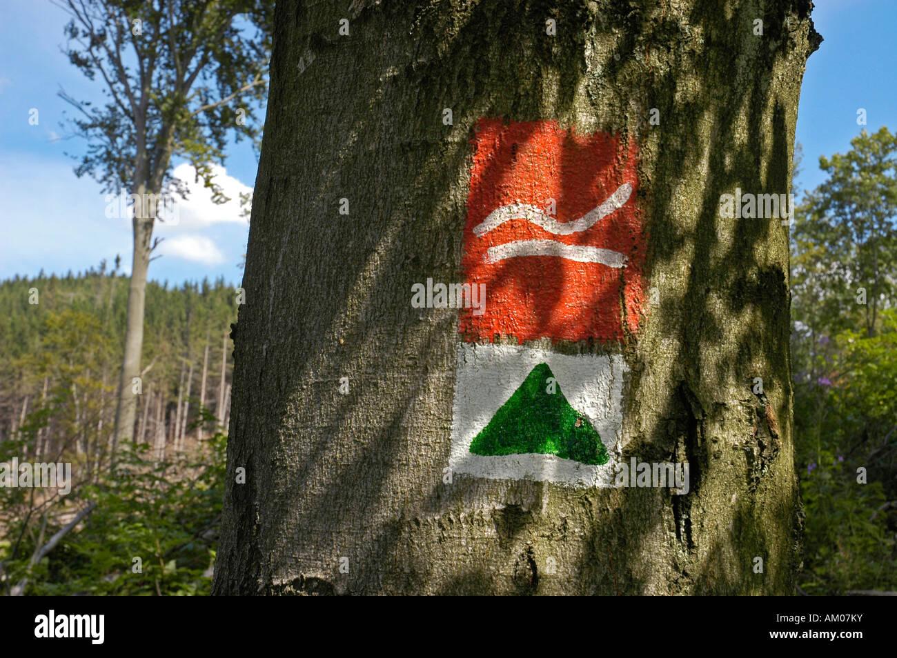 Sign, Rothaarsteig hiking trail, North Rhine-Westphalia, Germany Stock Photo