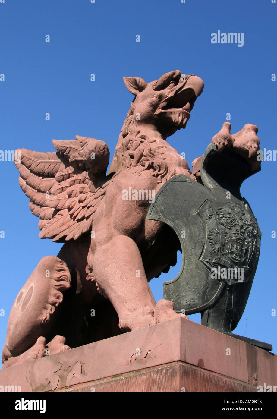 Stone Griffin at at Molkebrücke in Berlin - Stock Image