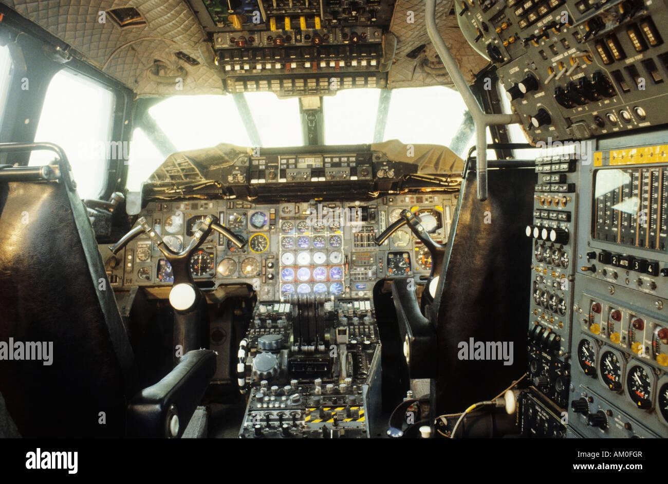 Concorde Concord cockpit Duxford Cambs - Stock Image