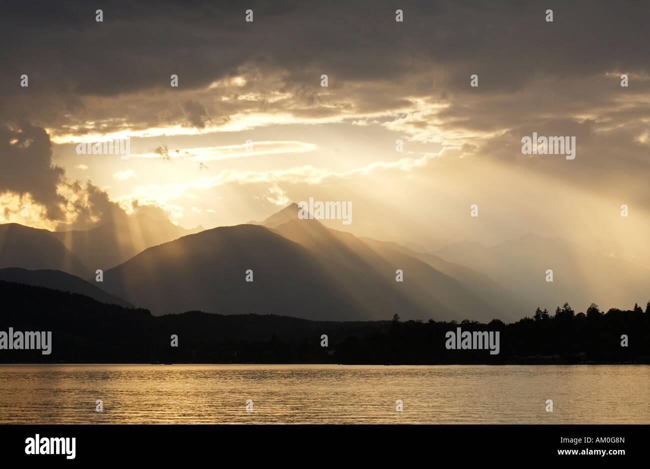 Stormy atmosphere at Lake Millstatt, Carinthia, Austria Stock Photo