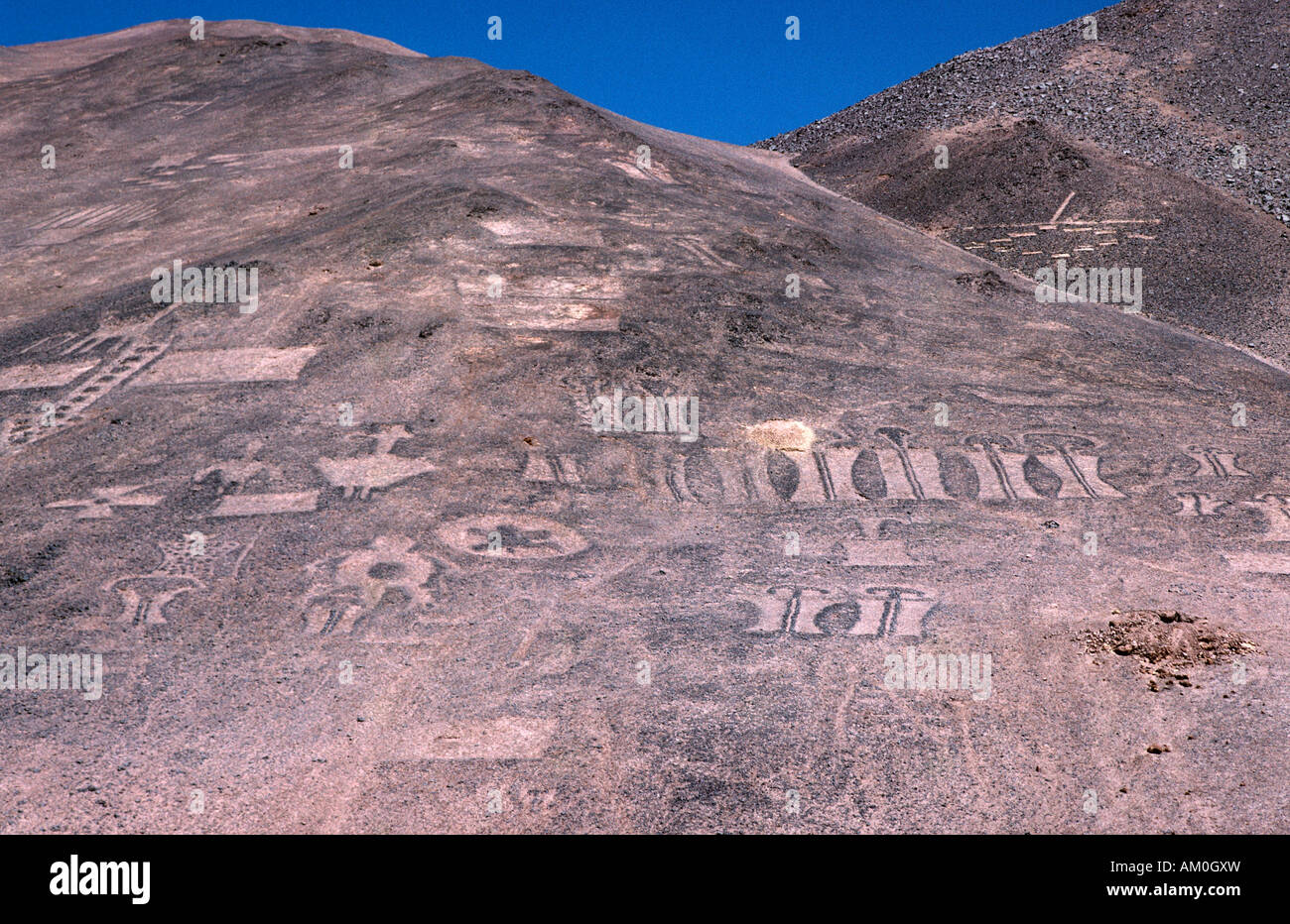 Geoglyphs, over 1000 years old, Pampa del Tamarugal, Atacama Desert, Chile Stock Photo