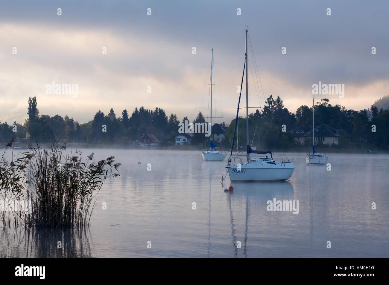 Boats on Woerthersee lake, Poertschach, Carinthia, Austria Stock Photo
