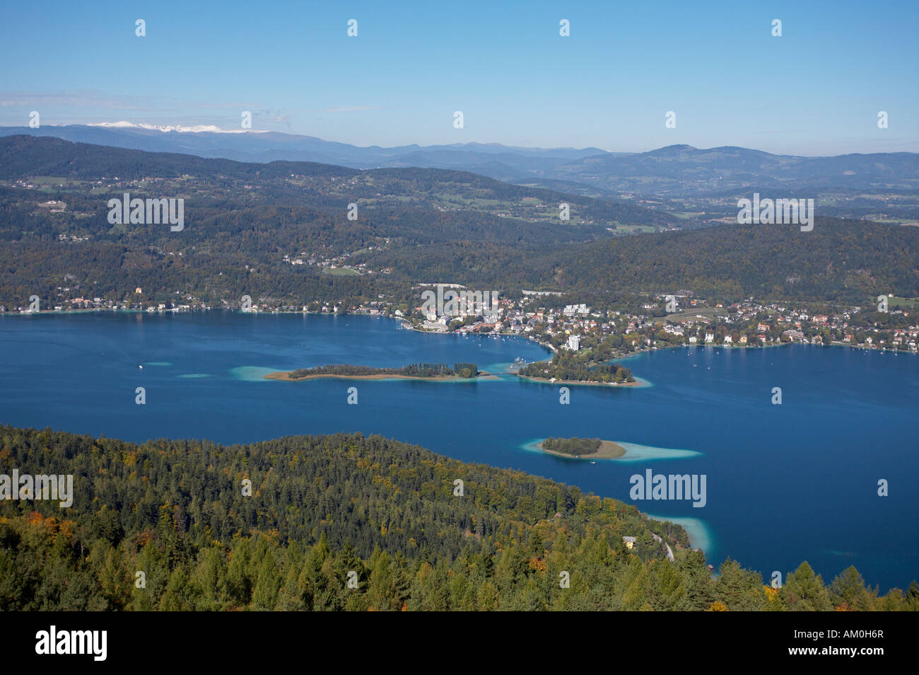 View from Pyramidenkogel to Woerthersee lake and Poertschach, Carinthia, Austria Stock Photo