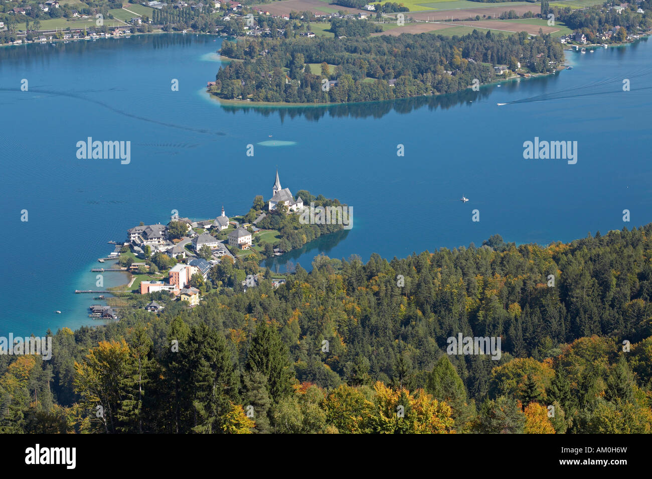 View from Pyramidenkogel to Maria Woerth, Carinthia, Austria Stock Photo