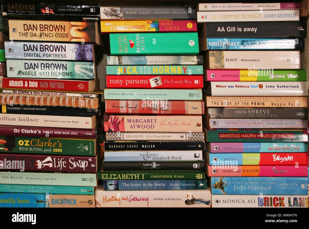 books book shelf shelve bookshelf reading stack - Stock Image