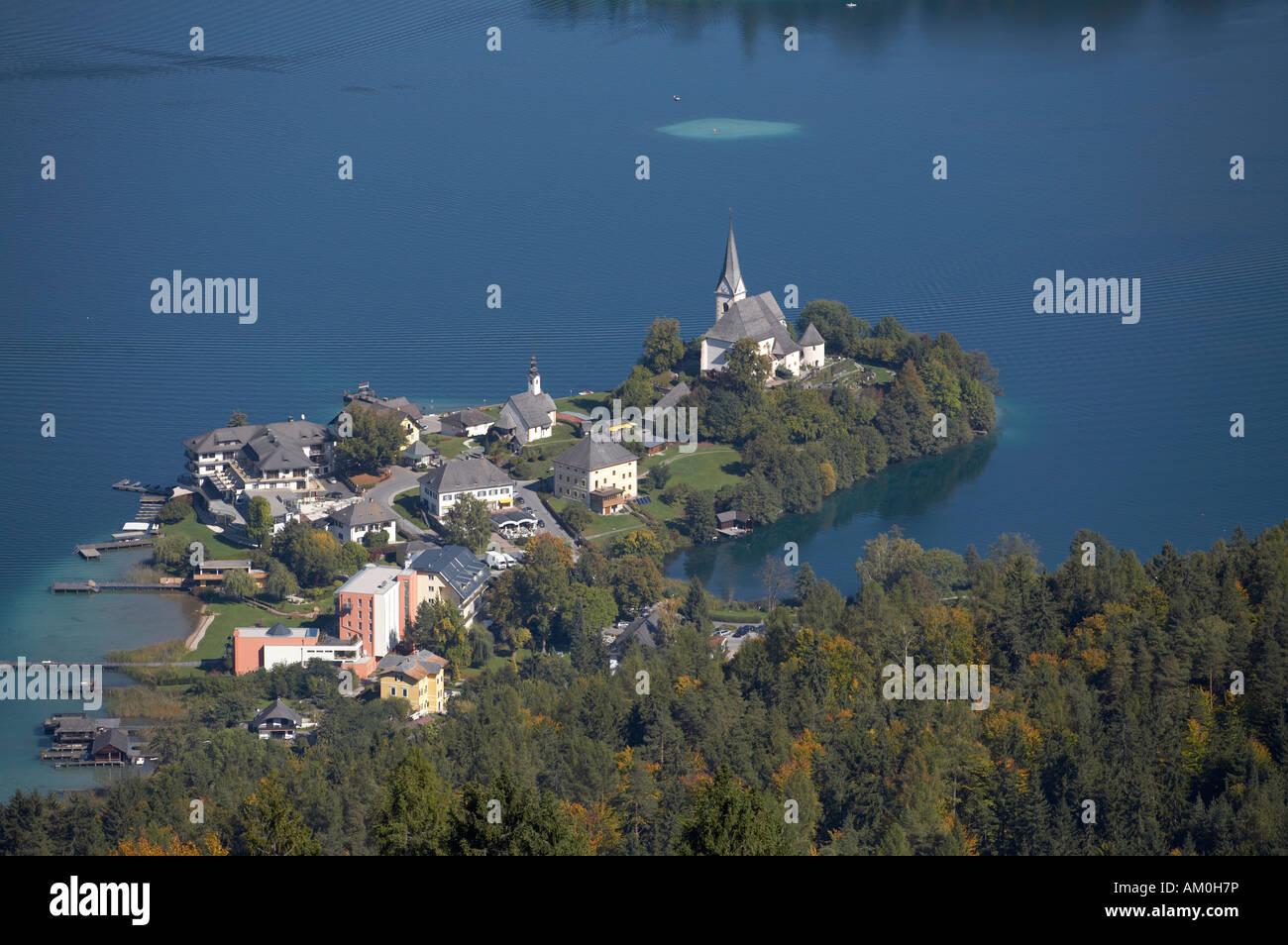 View from Pyramidenkogel to Maria Woerth, Carinthia, Austria Stock Photo