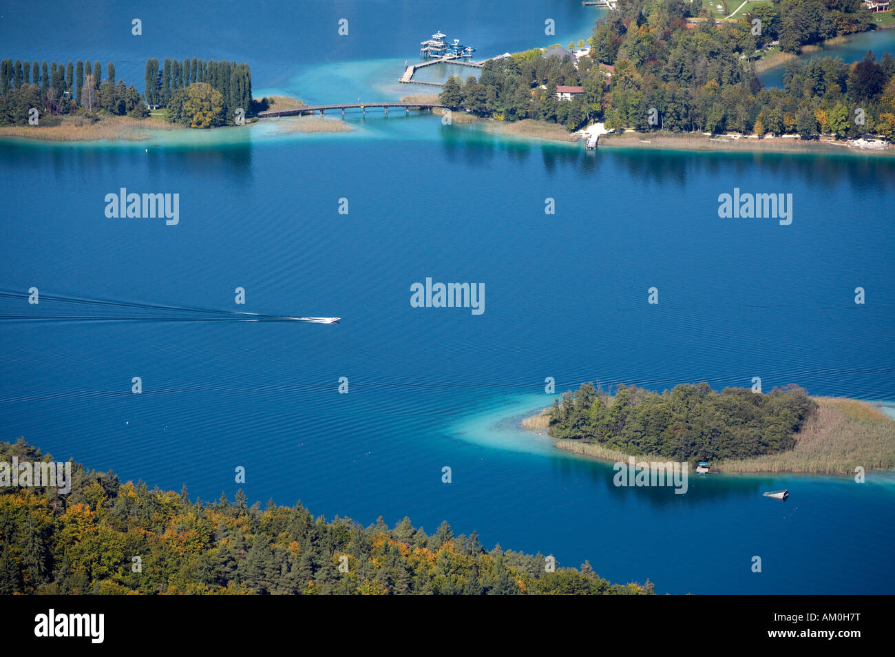 View from Pyramidenkogel to Woerthersee lake, Poertschach Landspitz, Carinthia, Austria Stock Photo