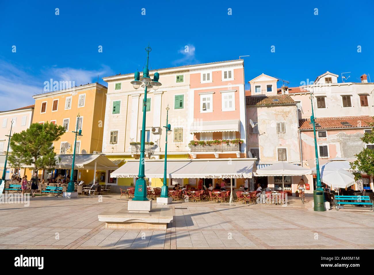 House facades in Mali Losinj, island Losinj, Primorje - Gorski kotar, Croatia Stock Photo