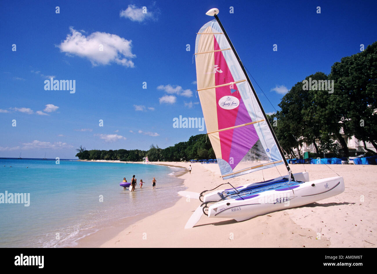 Barbados island, Saint James, beach of the Sandy Lane hotel - Stock Image