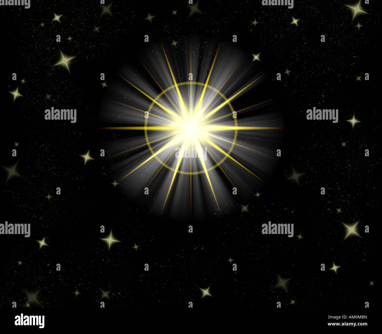 great big star flare or shining christmas star - Stock Image