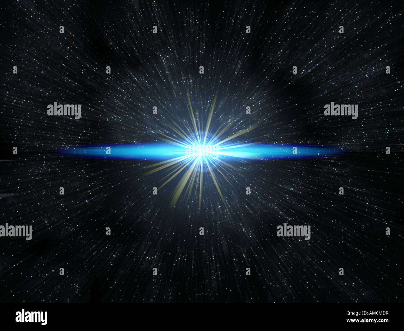 shining star flare on exploding in space - Stock Image
