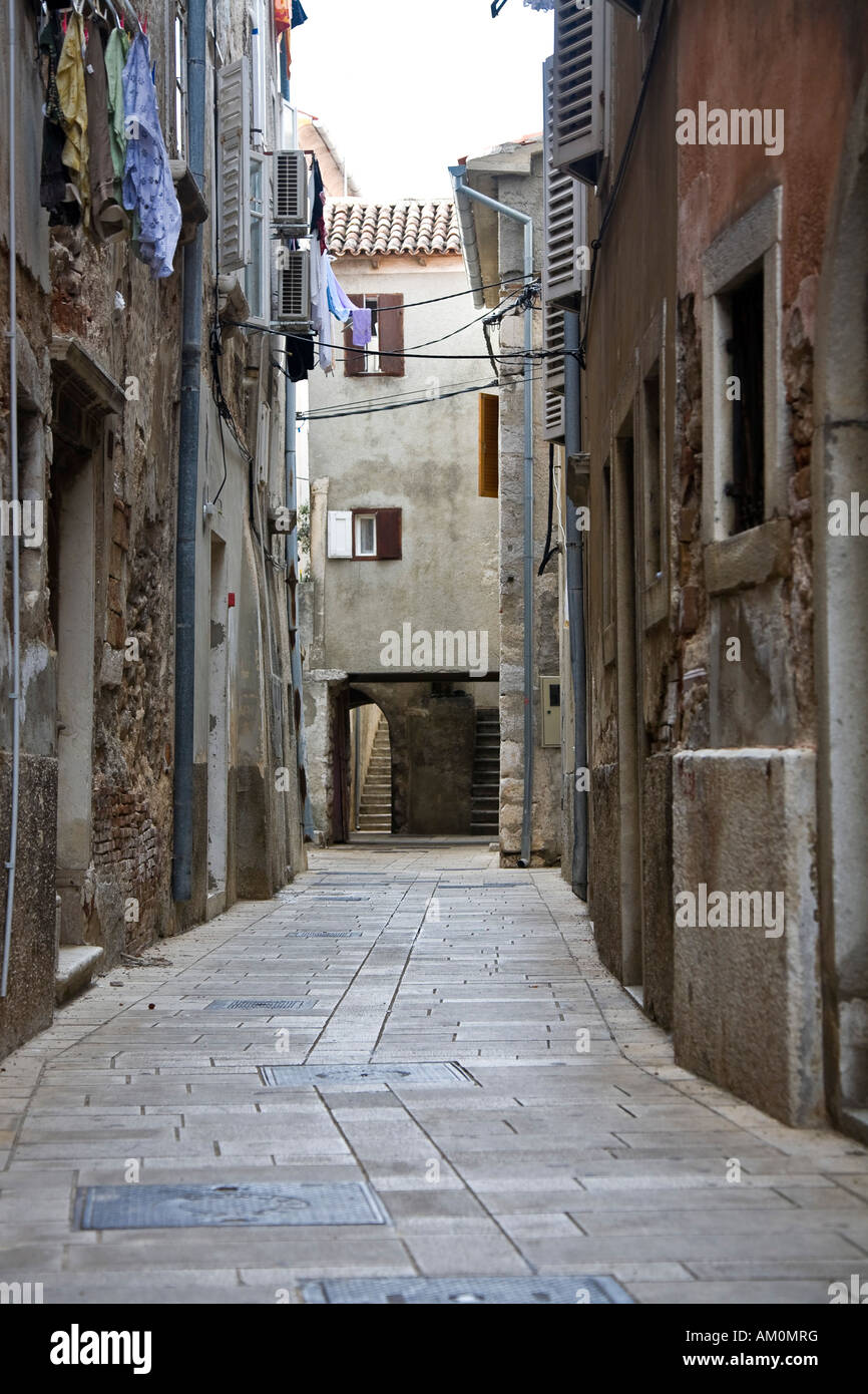 Narrow alleys in the Old Town of Labin Istria Croatia - Stock Image