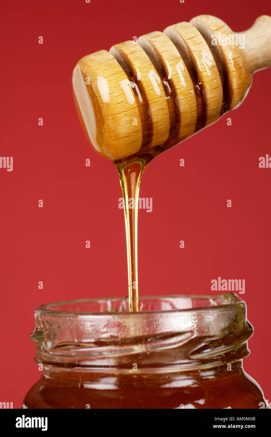 Clear honey dripping in jar from dipper - Stock Image