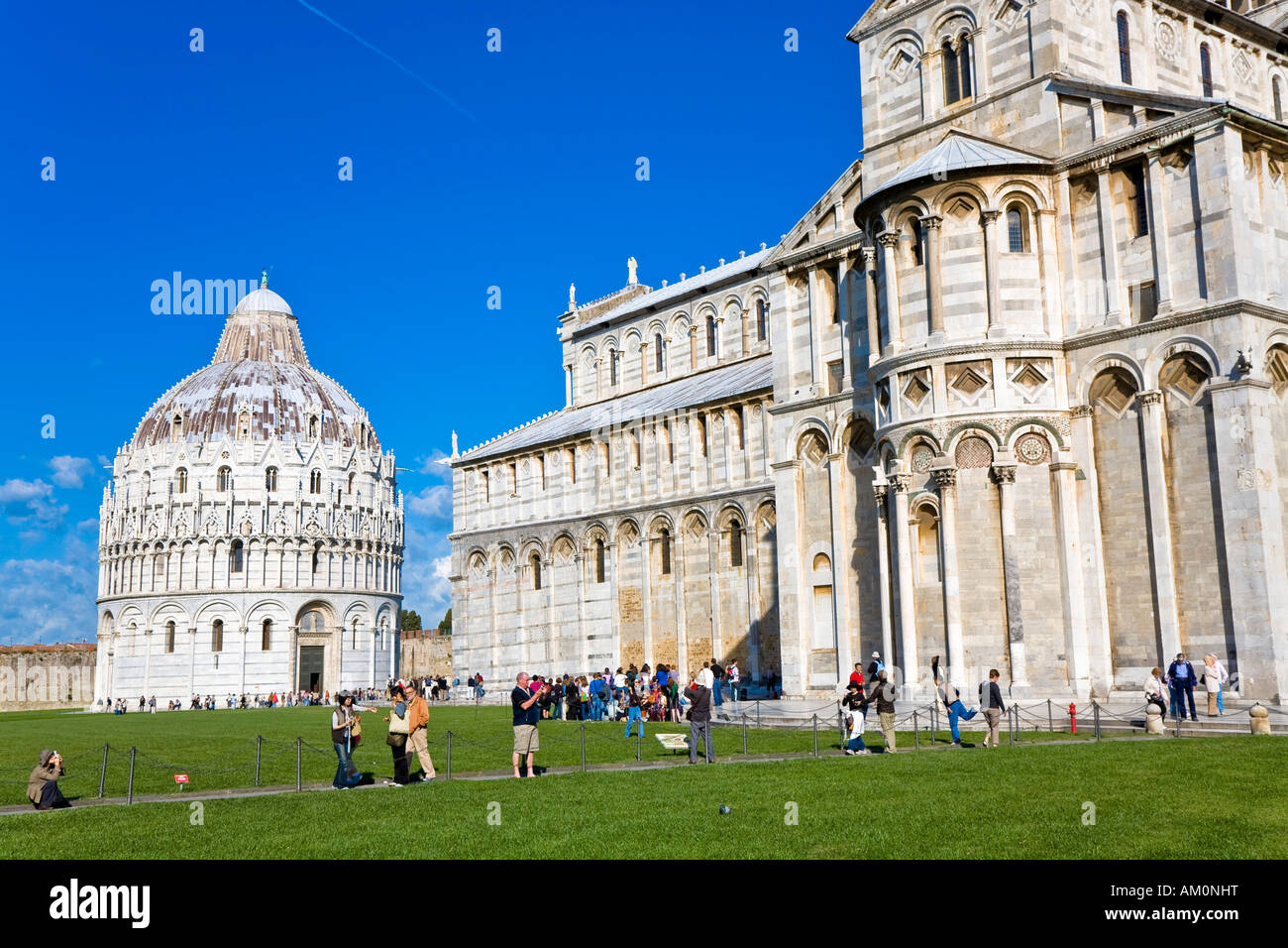 Baptistry and Cathedral Piazza dei Miracoli Pisa Tuscany Italy Stock Photo