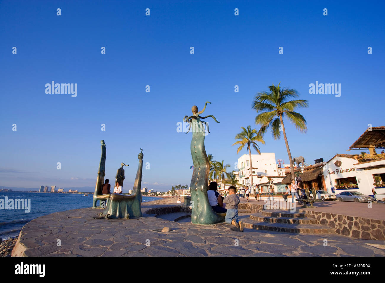 Statues Along Malecon Boardwalk In Puerto Vallarta Mexico