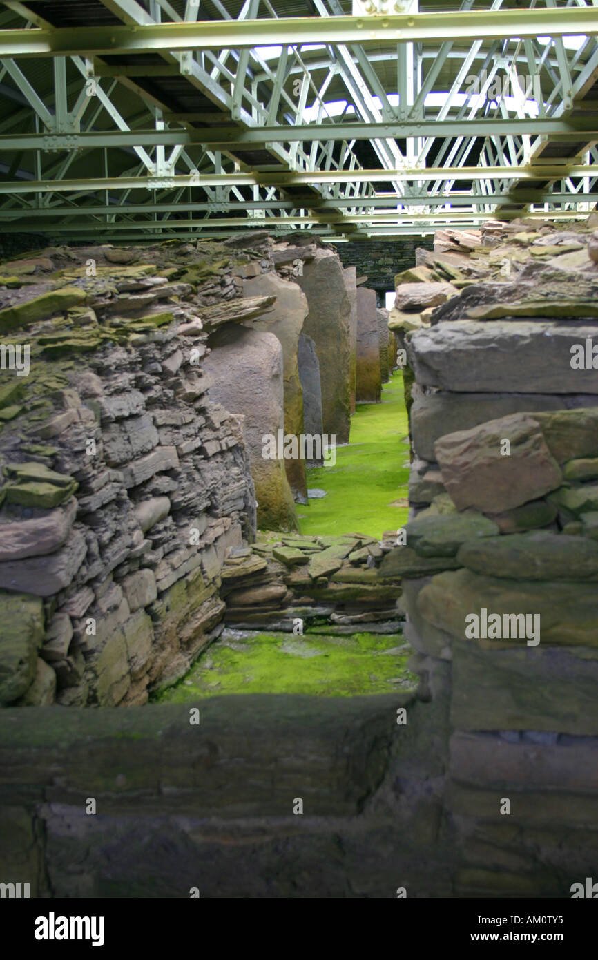 Orkney. Mid How burial chamber on Rousay - Stock Image