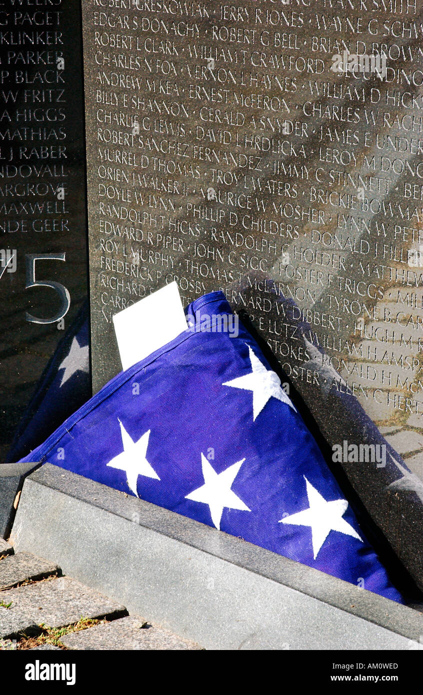 9fda25fe12e US Flag placed at base of Vietnam Memorial Wall Washington DC USA - Stock  Image