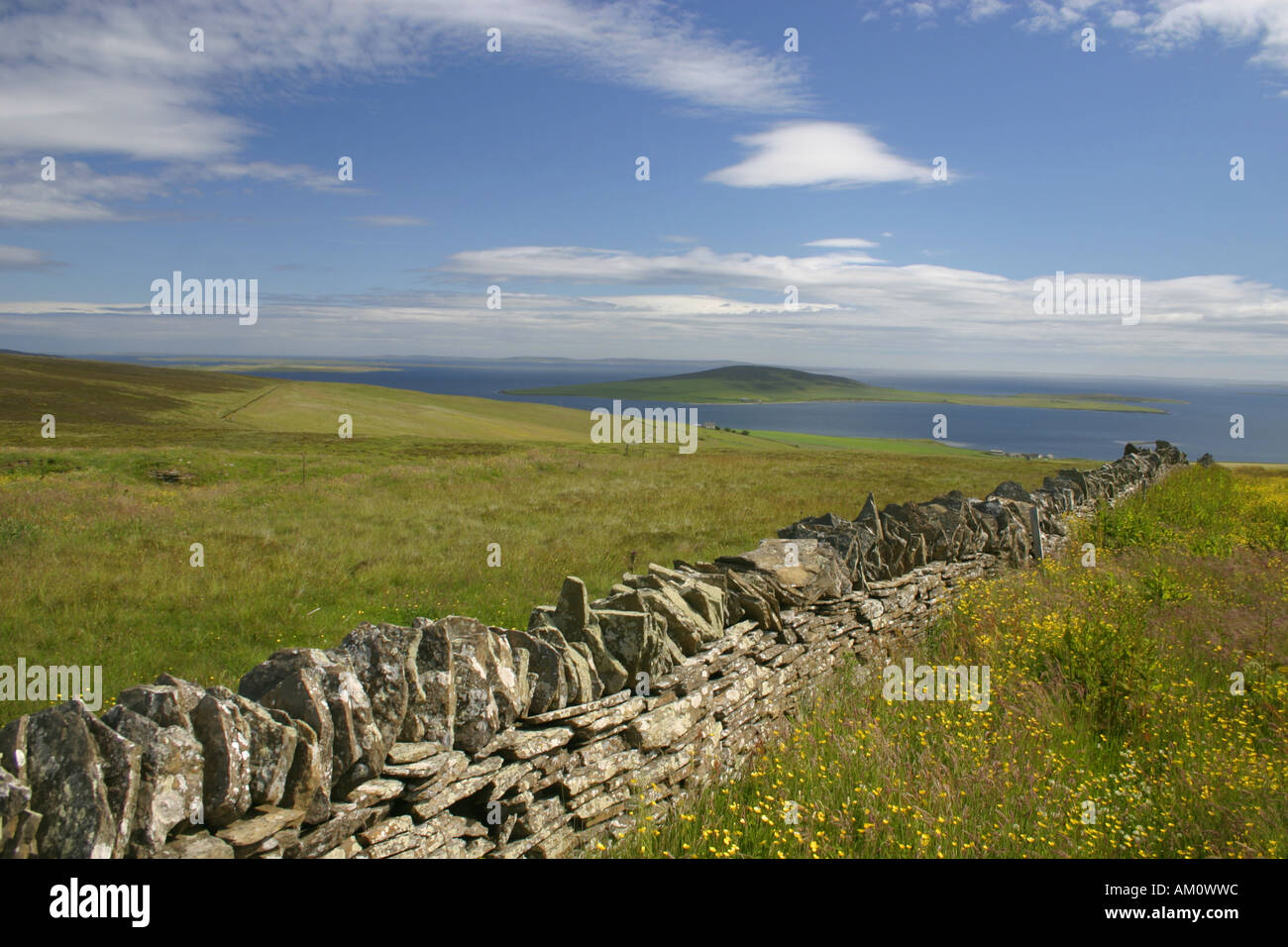 Orkney. Gairsay from Yessa Hill on Mainland - Stock Image