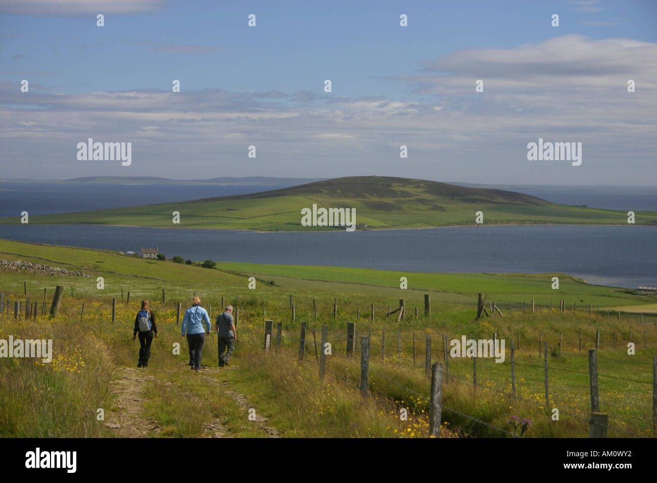 The Island of Gairsay from Yessa Hill on Orkney, Orkney Islands, Northern Isles, Scotland - Stock Image