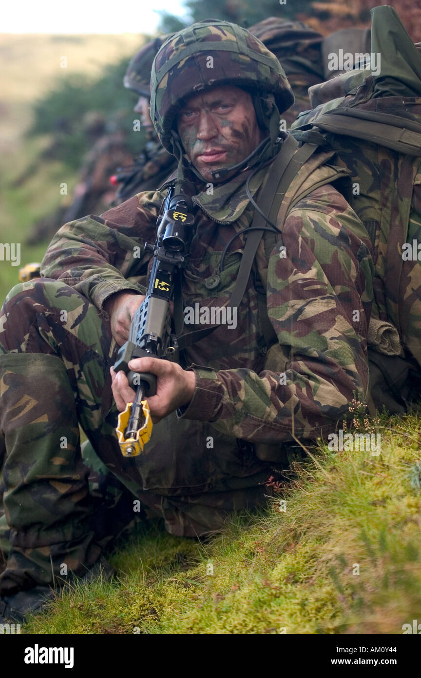 A Territorial Army soldier of the Royal Rifle Volunteers exercising on the Otterburn  training area in the Cheviot Hills - Stock Image